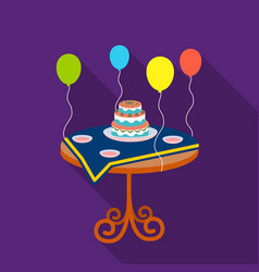 Birthday cake on the table icon in flat style vector