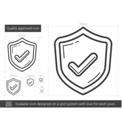Quality approved line icon vector