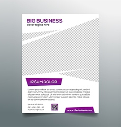 Clean modern business flyer template in purple vector