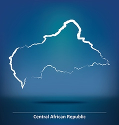 Doodle map of central african republic vector