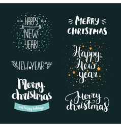 Set of hand drawn merry christmas and happy new vector