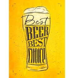 Poster best beer yellow vector image