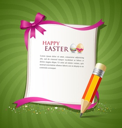 paper card and pencil of the happy easter eggs vector image