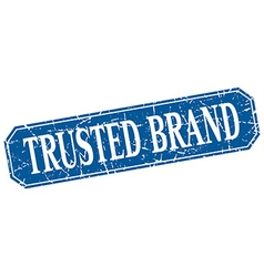 Trusted brand blue square vintage grunge isolated vector