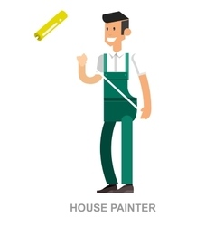 House painter flat decorative icons set with man vector image
