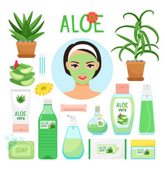 aloe vera cosmetic products vector image vector image