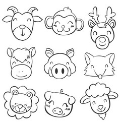 animal head of doodle style vector image