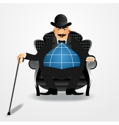 Banker sitting with a cane vector