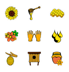 Beekeeper icons set cartoon style vector