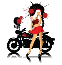 bike and girl vector image