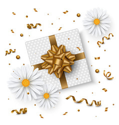 Birthday background chamomile flower gift box vector