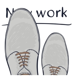Business concept a new job feet in shoes on the vector