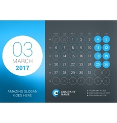 Calendar Template for March 2017 Design vector image vector image