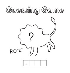 Cartoon lion guessing game vector