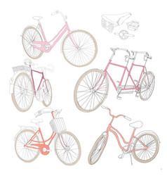 Colorful hand drawn bicycles set vector