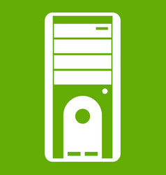 computer system unit icon green vector image