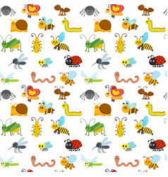 Cute cartoon seamless pattern with insects funny vector