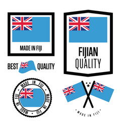 Fiji quality label set for goods vector