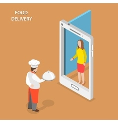 Food delivery flat isometric concept vector image