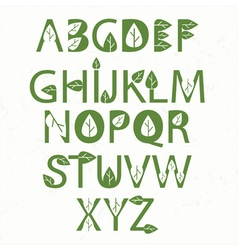 green eco alphabet vector image