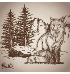 Hand drawing fox sitting landscape vintage vector