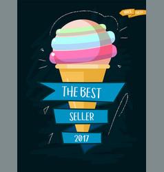 ice cream cone cartoon icon with inscription best vector image vector image