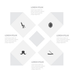 Icon fashion set of sharp wealthy elbow chair vector