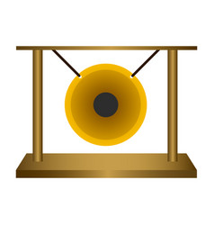 Isolated gong musical instrument vector