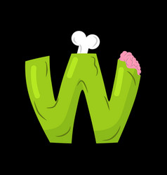 Letter w zombie font monster alphabet bones and vector