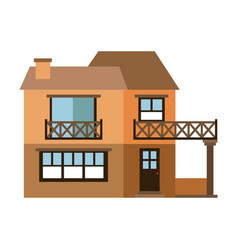 Light color silhouette of facade house with two vector
