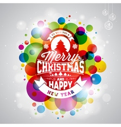 Merry Christmas Holiday with typography design vector image vector image