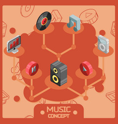 music color isometric concept icons vector image vector image