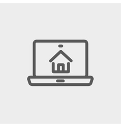 Online house shopping thin line icon vector image