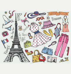 Paris france fashion summer vacation setwoman vector