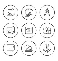 Set round line icons of architectural vector