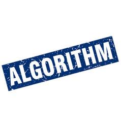 Square grunge blue algorithm stamp vector