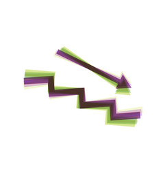stair down with arrow colorful icon vector image vector image
