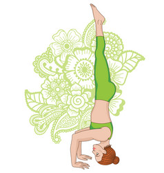 Women silhouette tripod headstand yoga pose vector