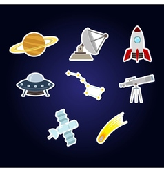 Color set with astronomy and space icons fo vector