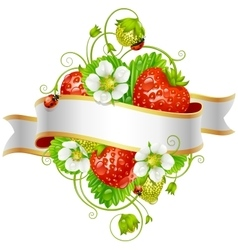 Ripe strawberry and ribbon vector
