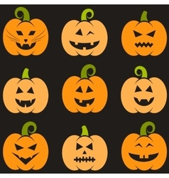 Set of halloween pumpkins vector