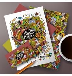 Cartoon art corporate identity set vector