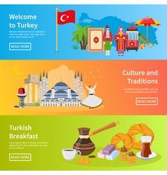 Turkey flat horizontal banners vector
