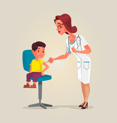 Doctor woman character doing vaccination vector