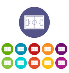 Soccer field icons set flat vector