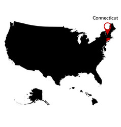 Map of the us state of connecticut vector