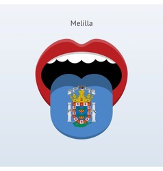 Melilla language abstract human tongue vector