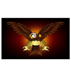 Spread winged eagle insignia with gold color vector