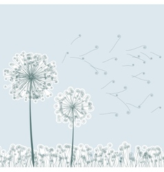 Vintage two dandelions in wind EPS8 vector image