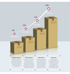 Carton box growth infographic vector